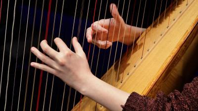 Opiskelija soittaa harppua