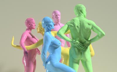 Liikunnan ilot -teoskuva. Alastomia ihmisiä asennoissa erivärisiin maaleihin kastettuna.