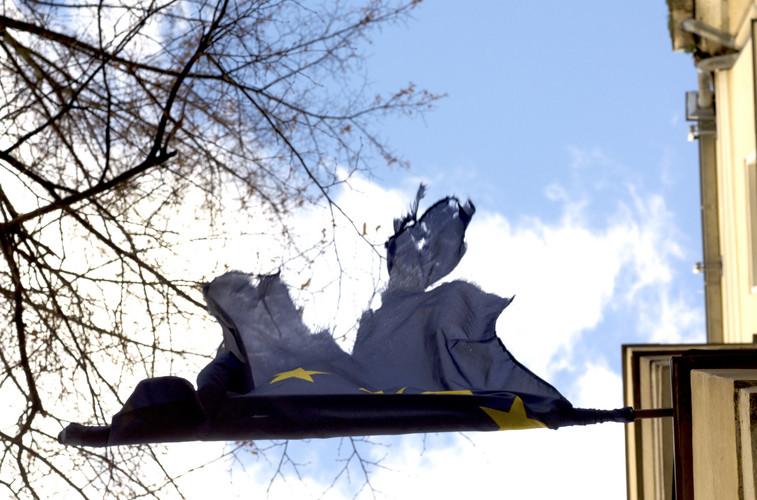 Tattered European Union flag in Berlin.