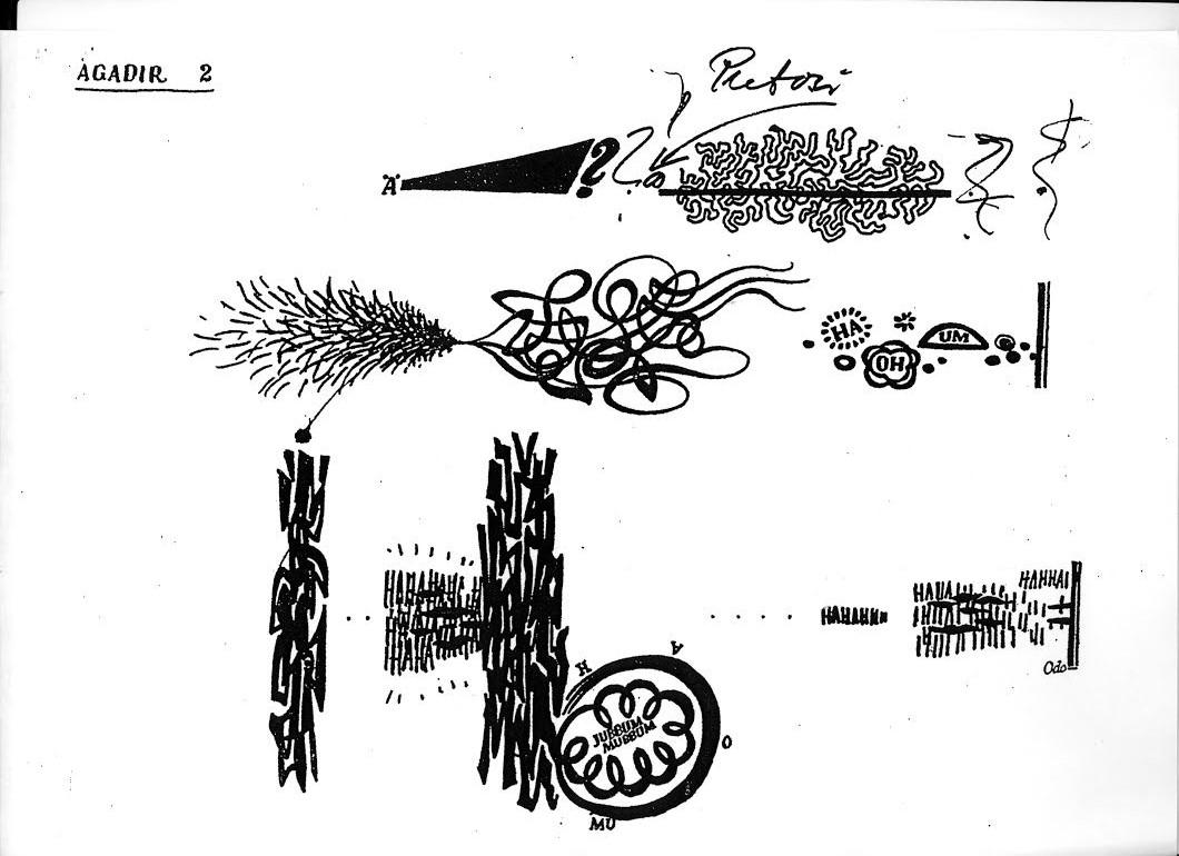 Sivu Agadir-teoksen graafisesta partituurista. Sivulla on erilaisia kuvallisia elementtejä.