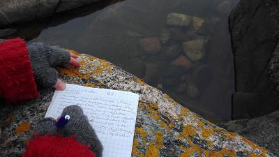 Ihminen kirjoittaa muistikirjaa kalliolla