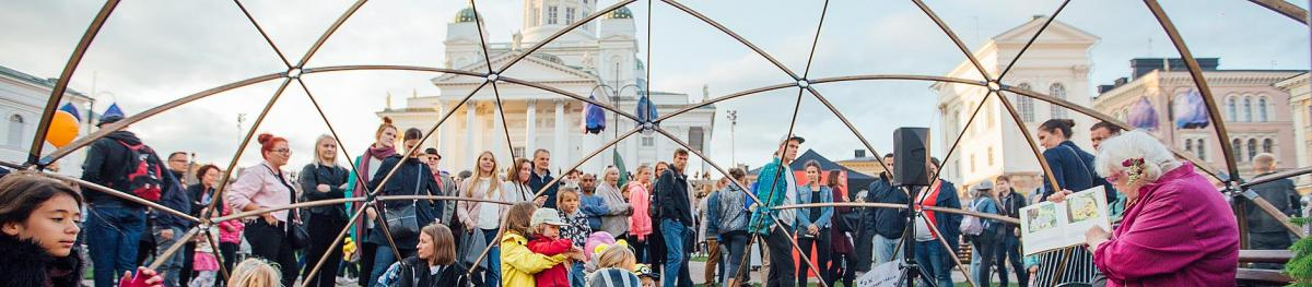 An art event near the cathedral in Helsinki