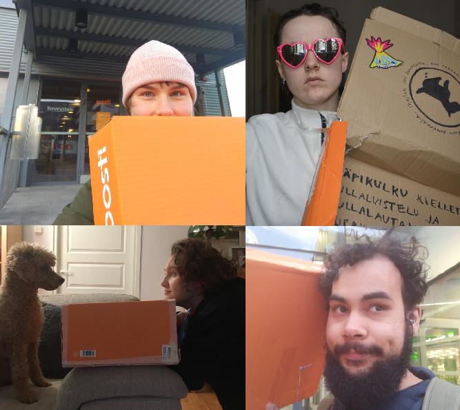 Neljään osaan jaettu kuva, joissa ihmisiä laatikon kanssa.