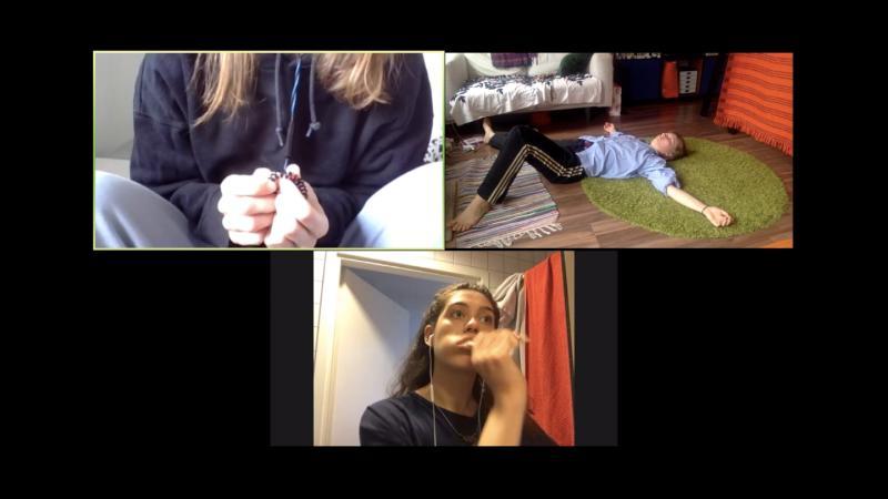 Three screenshots of a video work.