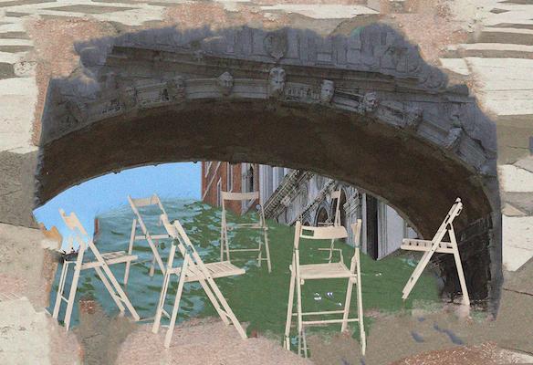 Tuoleja ringissä ja silta Venetsiassa