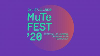 MuTeFest illustration. The image is purple with turquoise text on top. The text reads MuTeFest'20.