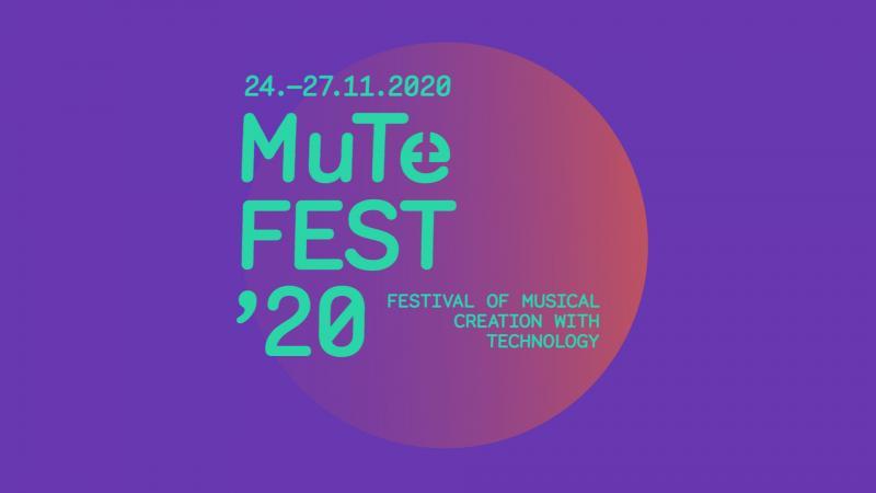 MuTeFest kuvituskuva. Kuva on violetti ja siinä on turkoosia tekstiä päällä. Tekstissä lukee MuTeFest'20.