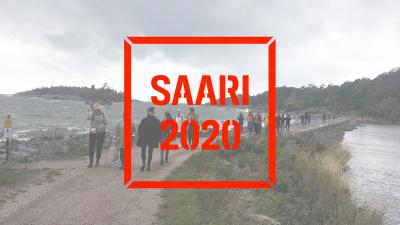 People crossing a neck of land that leads to Kuninkaansaari island. Saari 2020 logo on top of image.