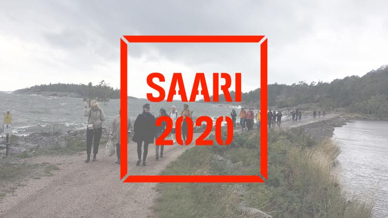 People crossing a neck of land that leads to Kuninkaansaari island. Saari 2020 logo on top of image.