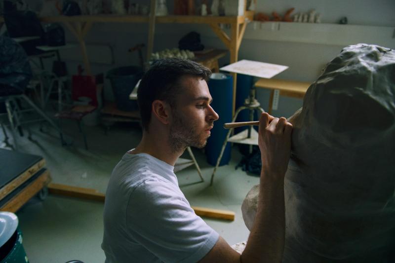 person working in sculpture studio