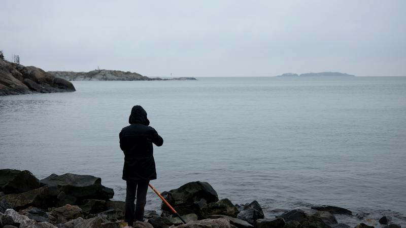 Person on Kuninkaansaari shore looking over the sea