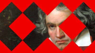 A painting of Beethoven. Graphic elements on top of the picture
