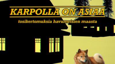 kasi mustaa piirrettyä taloa, keltainen tausta. Edessä pystykorva koira.