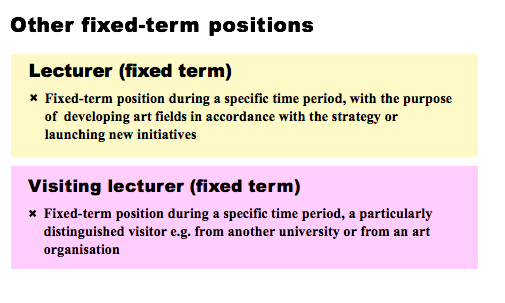 OTHER FIXED-TERM POSITIONS. LECTURER (FIXED TERM): FIXED-TERM POSITION DURING A SPECIFIC TIME PERIOD, WITH THE PURPOSE OF A DEVELOPING ART FIELDS IN ACCORDANCE WITH THE STRATEGY OR LAUNCHING NEW INITIATIVES. VISITING LECTURER (FIXED TERM): FIXED-TERM POSITION DURING A SPECIFIC TIME PERIOD, A PARTICULARLY DISTINGUISHED VISITOR E.G. FROM ANOTHER UNIVERSITY OR FROM AN ART ORGANISATION.