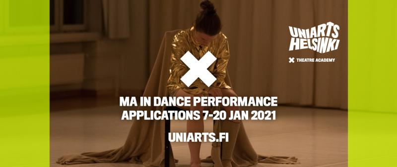 dancer on a chair and text on top of the photos, saying, MA in dance performance applications 7-20 JAN 2021 Uniarts.fi