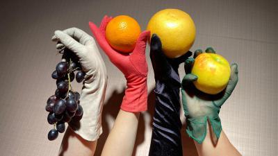 Kuvassa neljä erivärisin hansikkain verhottua kättä, kussakin kädessä hedelmä.