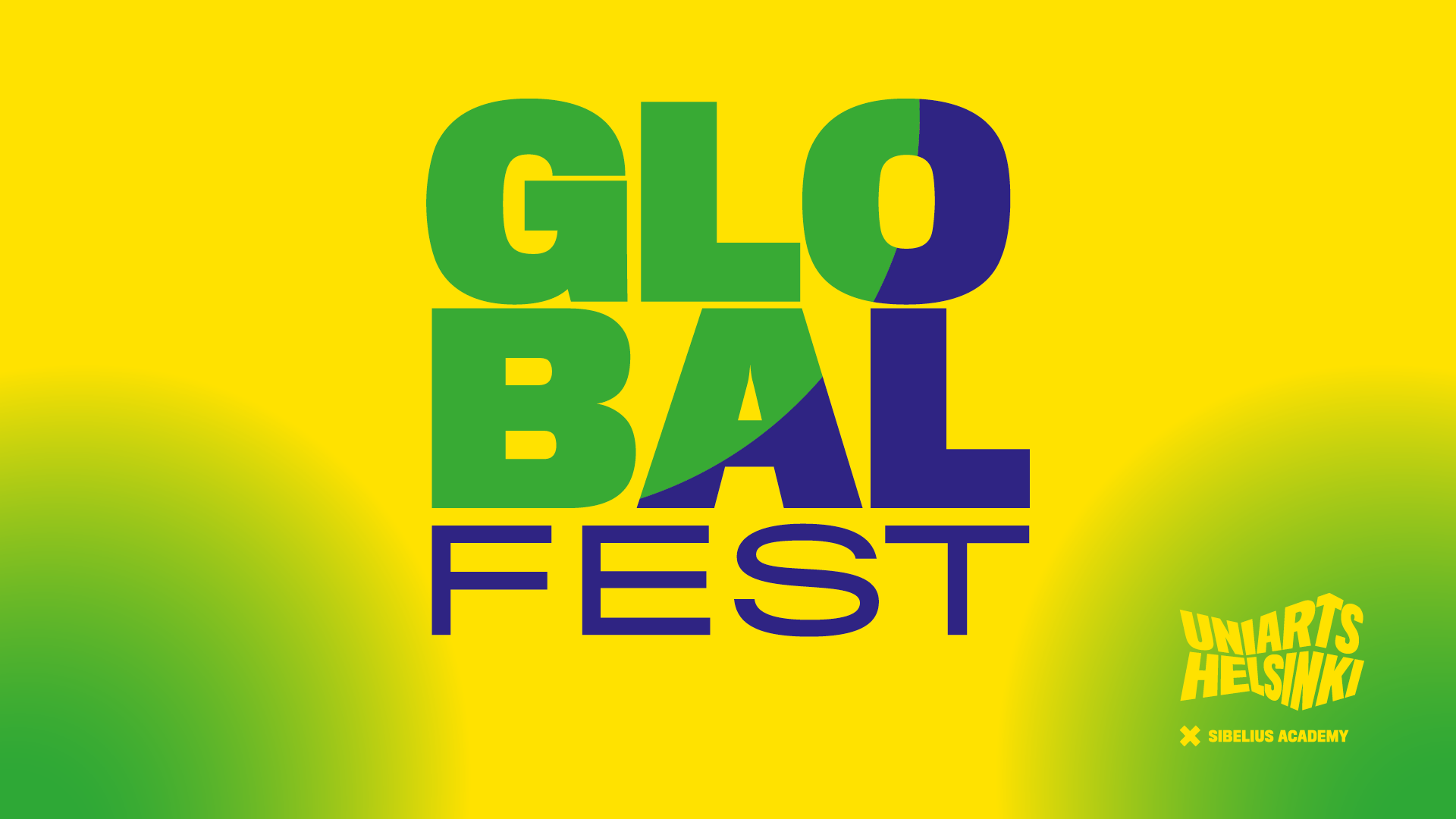Global fest logo. ''Global fest'' text is shown at green/yellow background.