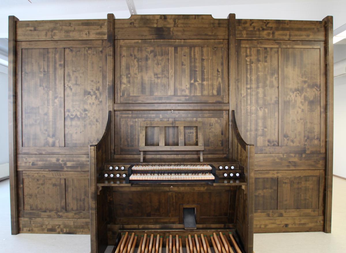 Photo about Pelto-Pirkkanen organ. Photo is taken in front of organ.