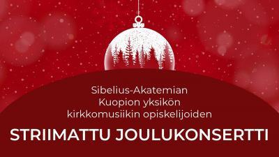 Kuvituskuva. Kuva on punainen ja sen keskellä on valkoinen kuusenkoriste, jonka sisällä on talvista metsää. Kuvan alaosassa lukee konsertin nimi.