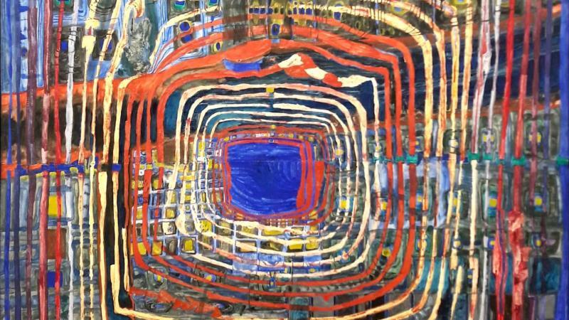 Kuva maalauksesta. Maalauksessa on paljon viivoja sisäkkäin. Ne muodostavat neliöitä. Keskellä on sininen neliö.