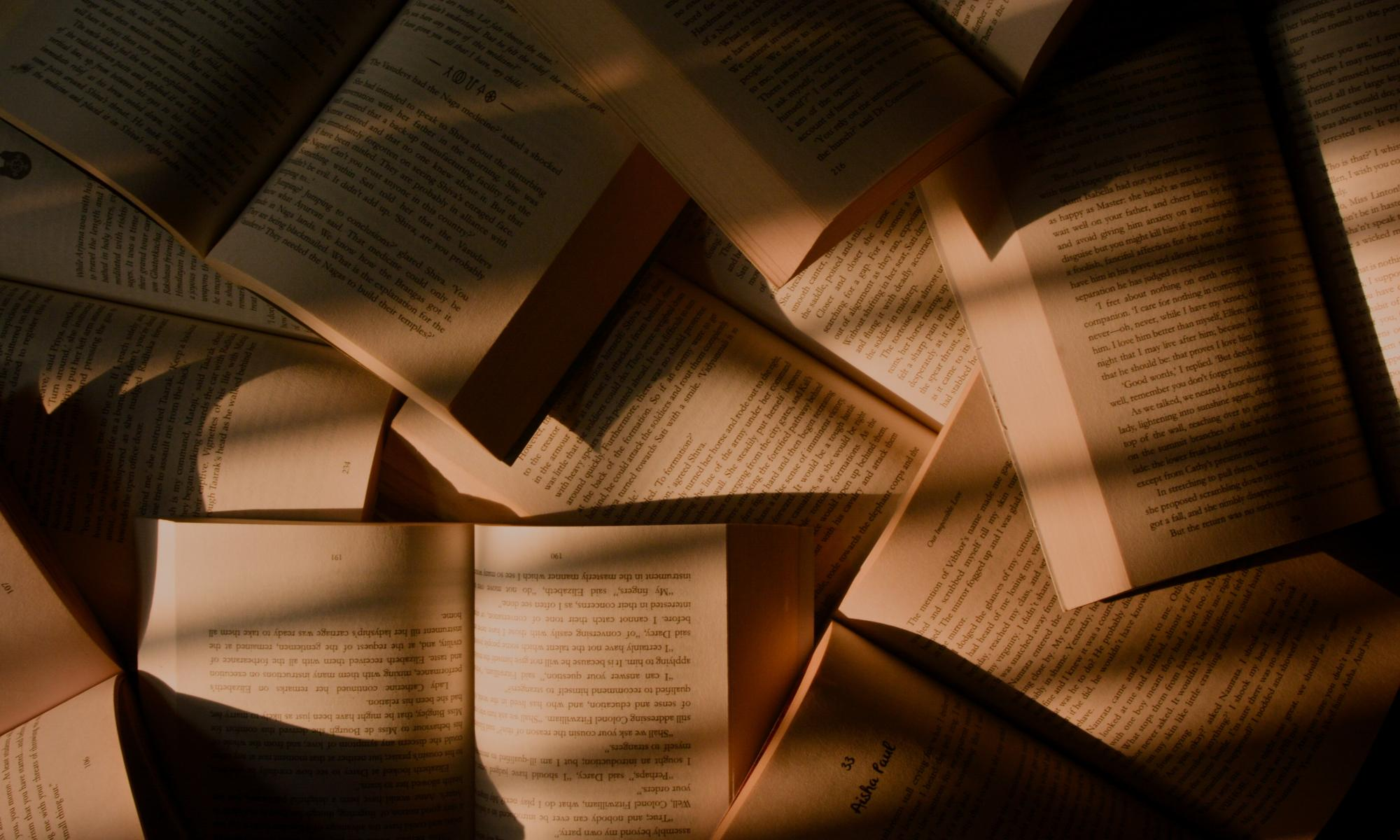 Aukinaisia kirjoja puualustalla. Valo siivilöityy pehmeästi niille.