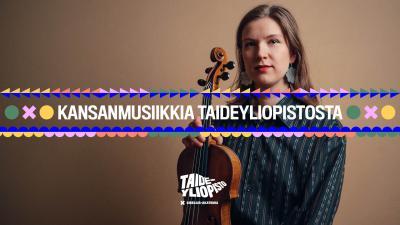 Aino Kinnunen studiossa kuvattuna viulun kanssa. Tausta on tummanruskea.