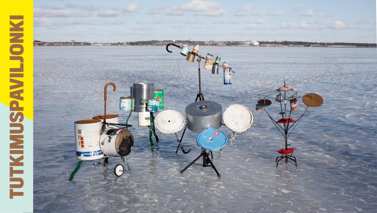 Drum set installation on ice.
