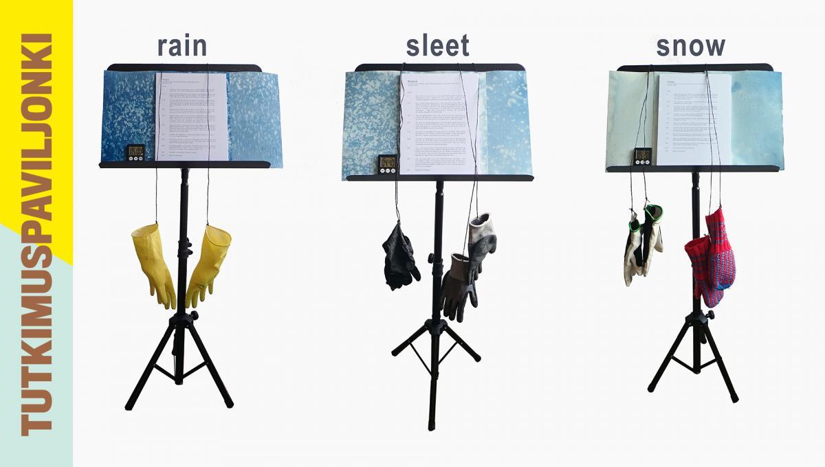 Three sheet music stands.