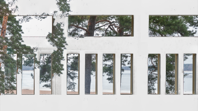 A modified photo of the Research Pavilion from inside out. The beach and some pine trees are visible through the window.