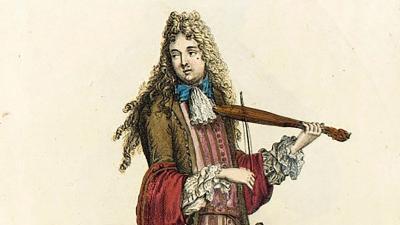Kuva maalauksesta, jossa seisoo viulisti.