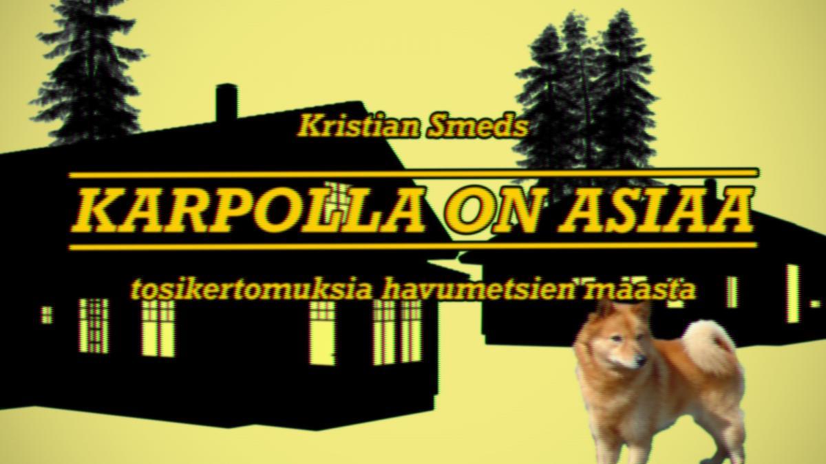 Musta-keltainen kuva, jossa kaksi rakennusta, puita ja etualalla koira