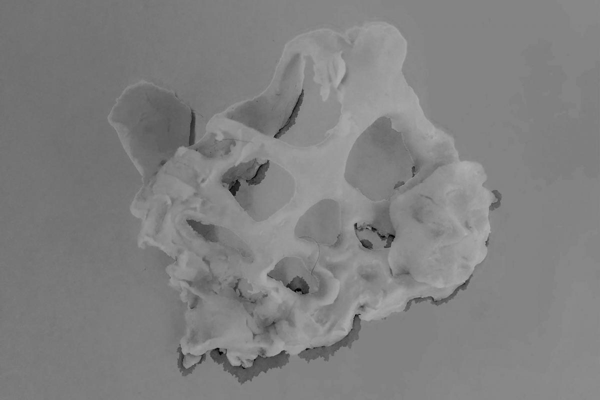 Ihmisen anatomisia rakenteita muistuttava vaaleasta materiaalista valmistettu pieni veistos.