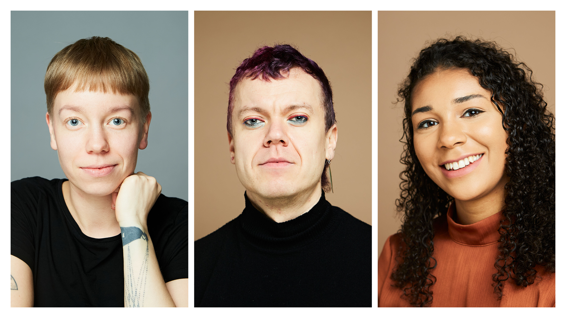 portraits of three students working for the campaign