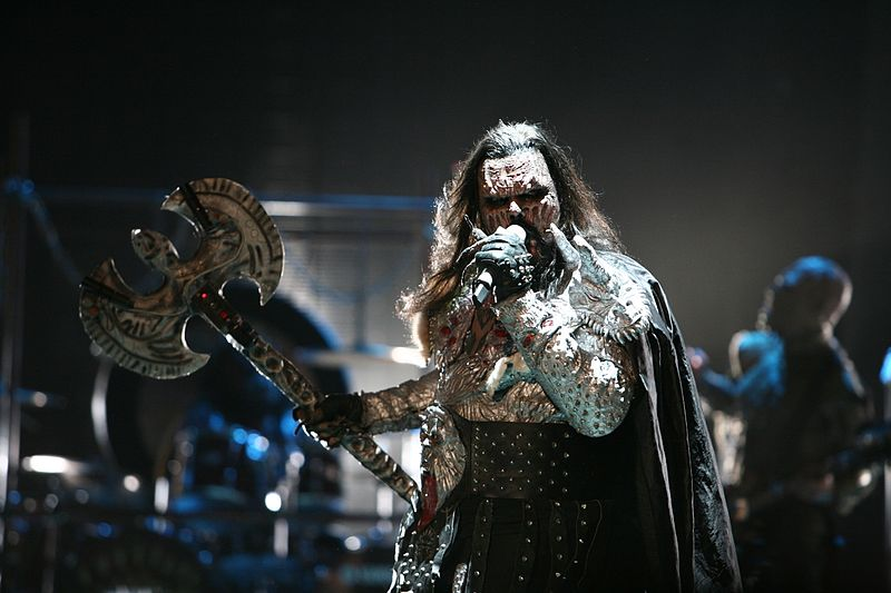 Finnish group Lordi perform Hard Rock Hallelujah at the 2007 Eurovision Song Contest.