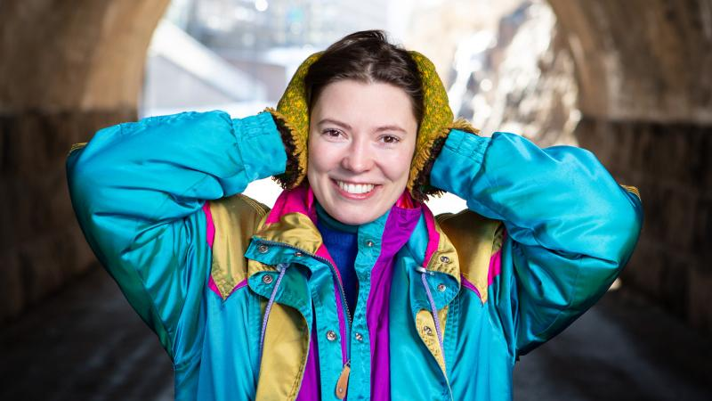 Student Natalie Eliassen standing by a tunnel in Helsinki.