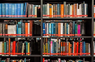 Kuva kirjaston hylllystä, jossa kirjojen selkämyksiä