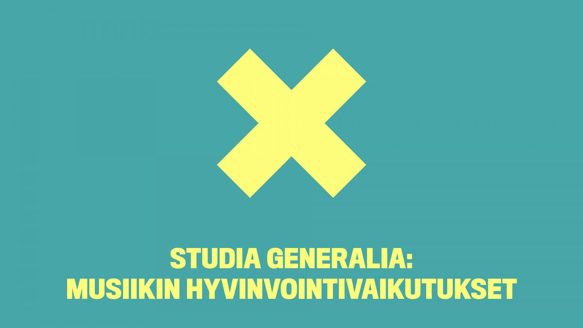 Yellow x is placed centre of a green bakcground. Events name is below the x